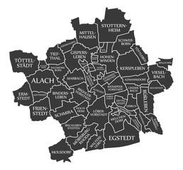 Erfurt city map Germany DE labelled black illustration