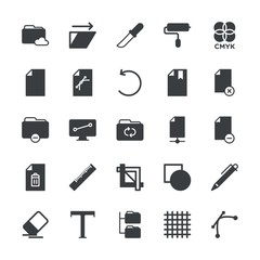 Modern Simple Set of folder, files, design Vector fill Icons. ..Contains such Icons as  modern,  school, eraser, paint, cmyk,  color, pen and more on white background. Fully Editable. Pixel Perfect.