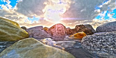 rock in sea macro