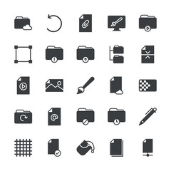 Modern Simple Set of folder, files, design Vector fill Icons. ..Contains such Icons as  bound,  office,  computer,  circle,  network,  home and more on white background. Fully Editable. Pixel Perfect.