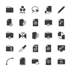 Modern Simple Set of folder, files, design Vector fill Icons. ..Contains such Icons as data,  vector,  lock, pencil,  folder, folder,  web and more on white background. Fully Editable. Pixel Perfect.