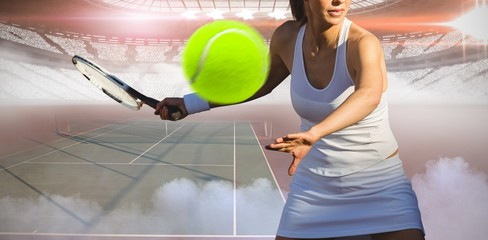 Composite image of tennis woman