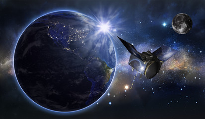 Satellite is orbiting around the Earth. Elements of this image furnished by NASA, 3d rendering