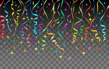 Streamers pattern. Confetti repeating vector background, celebration streamer abstract transparent background