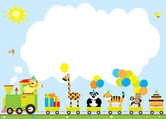 pociąg urodzinowy z balonami i zwierzętami, miejsce na tekst / życzenia urodzinowe, zaproszenie