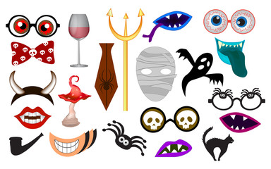 Photo booth props template for crazy party. Elements monsters for party. (lips, eyeglasses, mask and design elements for party props isolated on white background)