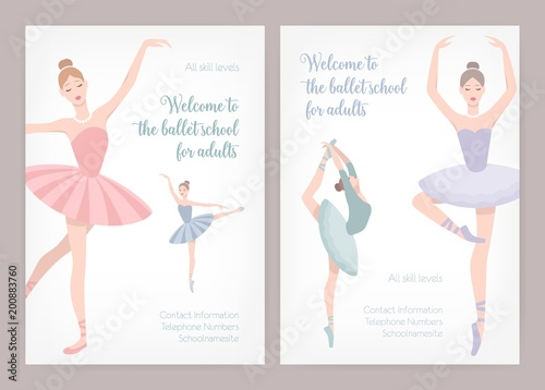 bundle of poster or flyer templates for ballet school or studio for