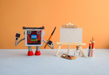 Exhibition poster studio drawing visual arts. Robot artist watercolor brush in hand, wooden easel, palette brushes pencils and water. Empty textured paper canvas template.