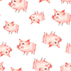 Watercolor seamless pattern with cute piggy.