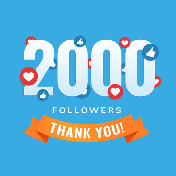 2000 followers, social sites post, greeting card vector illustration