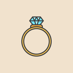 Ring with diamond colored icon. Vector engagement ring symbol
