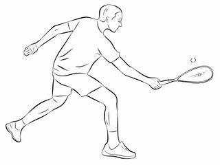 illustration of a squash player , vector draw