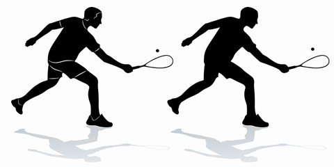 silhouette of a squash player , vector draw