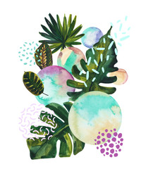 Photo sur Toile Empreintes Graphiques Watercolor tropical leaves on geometric background with water color, doodle textures.