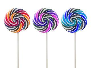 retro style colorful round shape lollipop on white background