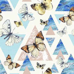 Ingelijste posters Vlinders in Grunge Watercolor triangles with butterfly and marble grunge textures