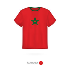T-shirt design with flag of Morocco.