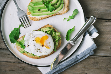 Avocado Sandwiches with Poached Egg