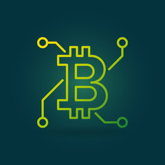 Bitcoin green vector linear icon on dark background