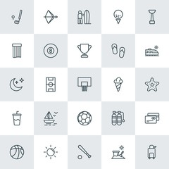 Modern Simple Set of sports, travel Vector outline Icons. ..Contains such Icons as sea,  travel,  toy,  underwater,  bucket,  water,  trip and more on white background. Fully Editable. Pixel Perfect.