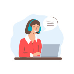 Call center operator, support, customer service. Vector illustration of a woman with headphones sitting at the table and working on the laptop