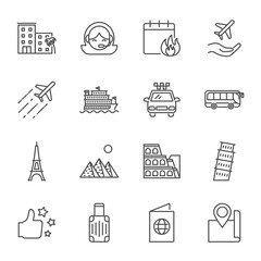 Tourism set of vector icons outline style. Editable stroke