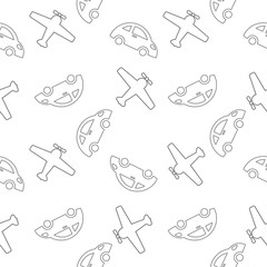 vector seamless pattern aircraft and cars