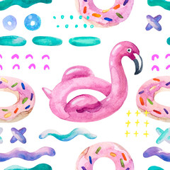 Water color flamingo pool float, donut lilo floating on 80s 90s background.