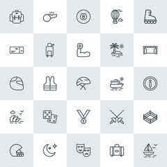 Modern Simple Set of sports, travel Vector outline Icons. ..Contains such Icons as  shirt,  billiard,  sexy,  snooker,  astronomy, moon and more on white background. Fully Editable. Pixel Perfect.