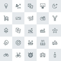 Modern Simple Set of sports, travel Vector outline Icons. ..Contains such Icons as  luggage,  safety, party,  wheel,  vest, life, sport and more on white background. Fully Editable. Pixel Perfect.