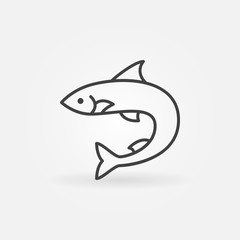 Salmon fish outline vector icon or logo element