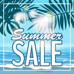 Sale summer banner, poster with tropical leaves, jungle leaf. Sea tropical summer background. Vector illustration EPS10