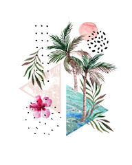Abstract poster: watercolor palm trees, leaves, hibiscus flower, marble triangles.
