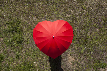 Overhead view of heart shaped umbrella against the grassy landscape