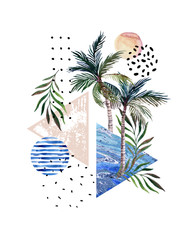 Abstract poster: watercolor palm trees, leaves, marbling triangles