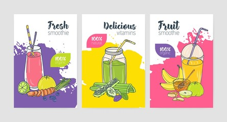 Collection of bright colored flyer or poster templates with refreshing cold drinks and smoothies made of exotic tropical fruits and vegetables. Colorful vector illustration for beverage advertisement.