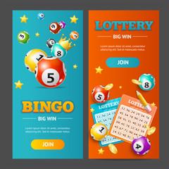 Realistic Lotto Banner Vertical Set. Vector