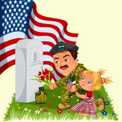 Memorial Day, man with children on military cemetery near grave with white monument to veteran, girl memory and remember war heroes, American flag tokens vector illustration