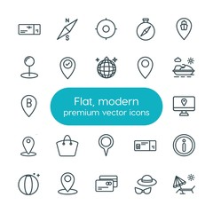 Modern Simple Set of location, travel Vector outline Icons. ..Contains such Icons as  symbol,  web,  chair, summer,  disco,  debit, credit and more on white background. Fully Editable. Pixel Perfect