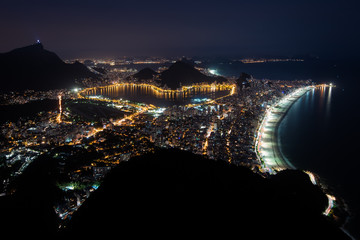 Night View of Rio de Janeiro City With Illuminated Ipanema Beach, Rodrigo de Freitas Lagoon, and Corcovado Mountain