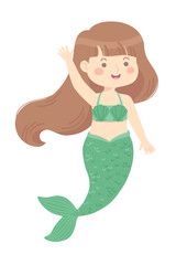 Cute Mermaid Girl green vector illustration cartoon character design isolated on white background.