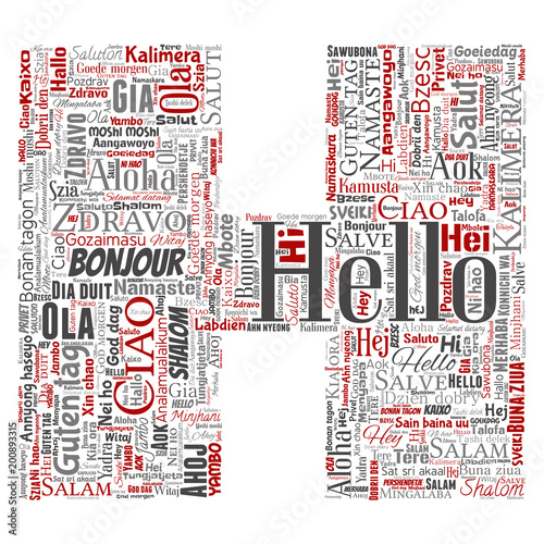 Vector Concept Or Conceptual Letter Font H Hello Greeting International Tourism Word Cloud In Different