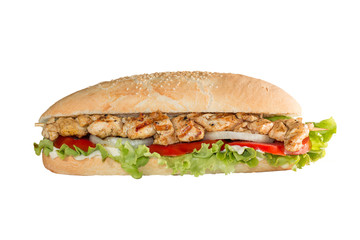 Chicken skewers sandwich on white background