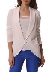 white summer cotton jacket on model cut close up photo isolated on white
