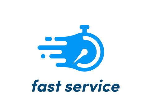 Time clock vector logo fast service stopwatch
