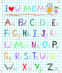 Rainbow colorful baby sketchy hand drawn painting style doodle alphabet letters on squared notebook page isolated vector illustration with I love you mom headline and kid's picture of mommy and girl