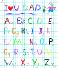 baby sketch hand drawn doodle alphabet letters on squared note pad page isolated vector illustration with I love you dad headline and child's picture of daddy and boy. Greeting text creation