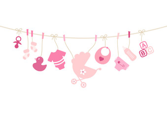 Girl Baby Symbols Hanging Rose