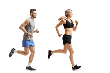 Young man and a young woman running