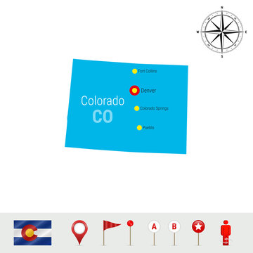Colorado Vector Map Isolated on White Background. Silhouette of Colorado State. Official Flag of Colorado